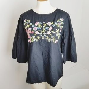 Loft embroidered floral parrot peasant shirt